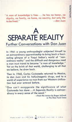 Carlos Castaneda: A Separate Reality (1971, Pocket Books) - (achterkant).