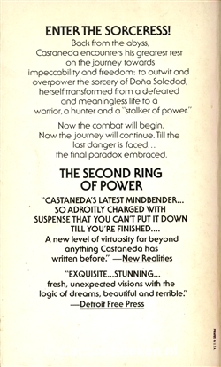 Carlos Castaneda - The second Ring of Power. (1977, Pocket Books) - (achterkant).